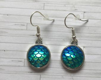 Mermaid Earrings, Mermaid Scale Earrings, Mermaid Jewellery, Green Mermaid Earrings, Birthday Gift, Gift for Friend, Gift for Her, Party