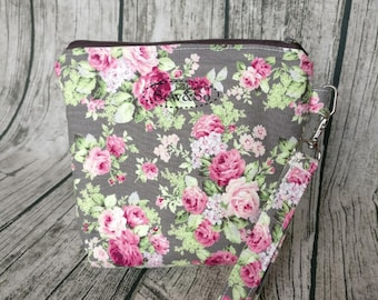 Make Up Pouch - Grey Pink Flower