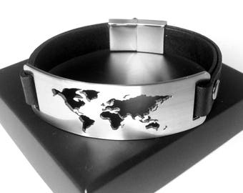 Mens leather and metal Bracelet / World Map Bracelet / Wanderlust Bracelet / Bracelet carte monde / Bracelet cuir et metal homme / World Map