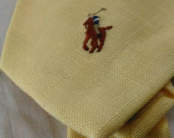 Ralph Lauren Polo Necktie In Yellow/Hand Made/100% Linen/Wrinkled But In Great Condition/Pre-Owned T