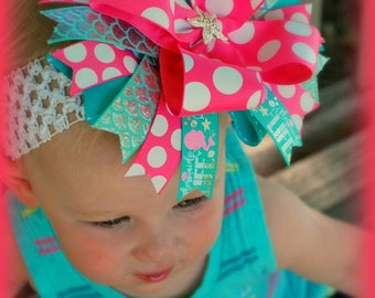 Mermaid Life Over The Top Boutique Hairbow Headband Rhinestone Starfish