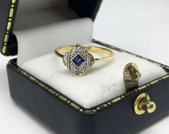 18ct Yellow Gold and Platinum Art Deco Sapphire and Diamond Ring SIZE K