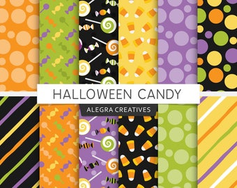 Halloween digital paper, halloween candy, fun, lollipop, candy corn, holiday, party, scrapbook papers (Instant Download)