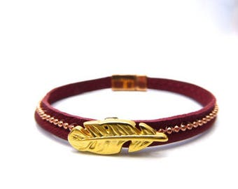Bracelet Native American feather red soft leather dark ball