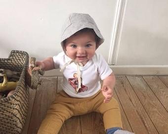 Baby organic cotton T shirt,  retro T shirt , newborn gift, baby boy T shirt, baby shower gift, handprinted T shirt, free UK shipping