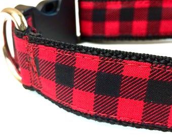 Buffalo Plaid Dog Collar, Christmas Dog Collar, Red Plaid Collar, Red Plaid Harness and Leash, Personalized Dog Collar, Hipster Dog Collar