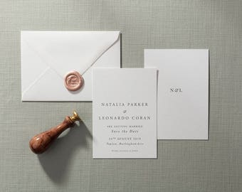 SAMPLE: House Collection No.3 - Modern Traditional Save the Date with Blush Pink Bespoke Wax Stamp - Invite Set Available - UK