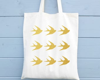 Canvas Tote Bag, Shopping Bag, Swallows Pattern, Gift for Her, Cotton Tote Bag, Shopper, Canvas Bag, Market Bag, Grocery Bag, Reusable