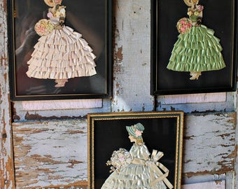 Three Ribbon Lace Paper Doll Girls