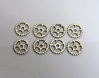 LOT 8 gear charm steampunk argent15mm watch