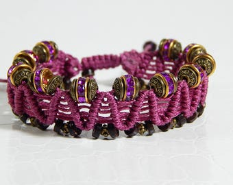 Old pink beads macrame bracelet gold and rhinestones