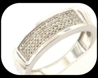 64 Diamond (0.30 CTW) Anniversary Band RING 925 Sterling Silver