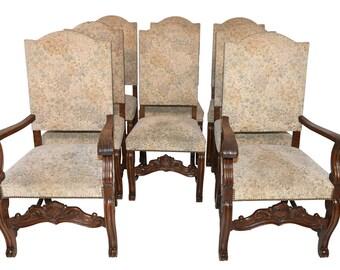 Set Of 8 Vintage Bruegel Dining Room Chairs Oak 8532
