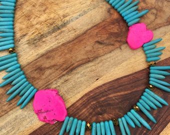 Turquoise Spike Necklace with Fuchsia Stone & Gold-Plated Beads