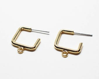 E0193/Anti-Tarnished Gold Plating Over Brass/Sqaure Stud Earrings/15x19mm/ 2pcs