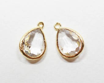G000314P/Crystal/Anti-Tarnished Gold plated over brass/Drop faceted glass pendant/11.4mm x 17.1mm /2pcs