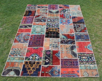 Vivid Dark Bright Colours Home Decor Carpet Rug,Oushak Patchwork Wool Rug  10u0027 X