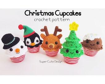 Christmas Cupcakes PDF Pattern, crochet, amigurumi