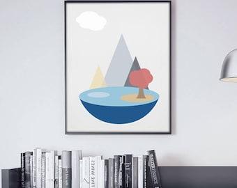 Scandinavian Art , Mountains Art , Mountains Wall Art , Scandinavian Design , Mountains Wall Decor, Printable Art , Scandinavian Landscape