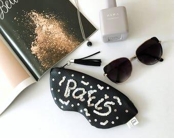 PARIS sunglasses case, vegan leather glasses case, paris embroidery holder, leather pouch with sequins, zipper women pouch, eyeglasses case