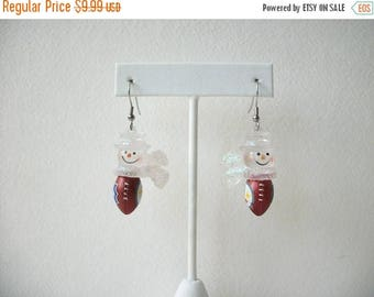 ON SALE Vintage Retired Snowman Football Earrings 62617