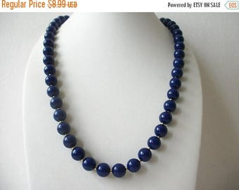ON SALE Vintage Blue Gold Plastic Mmetal 24 Inch Long Necklace 72916