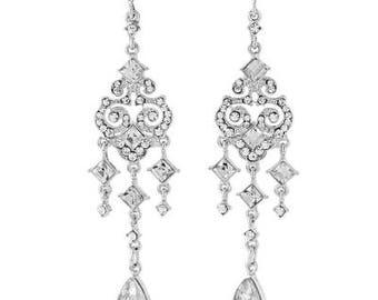 Glam Vintage chandelier style Crystal Droplet Pearl Earrings, bridal earrings, prom earrings, bridal accessories, bridal jewellery