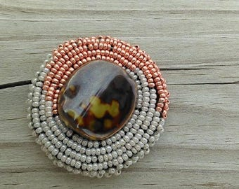 Bronze and Pearl beaded earring