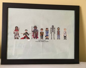 FINISHED Rogue One : A Star Wars Story Cross Stitch Ready to Ship!