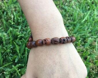 Wood Skull Bracelet
