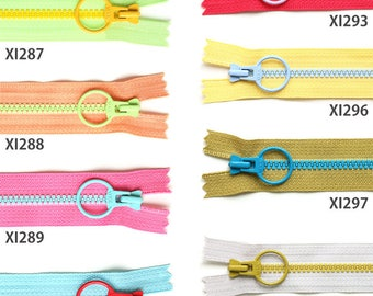 Set of 5 YKK Cosed End Contrast Color Zippers with Big Round Pull | 20cm/8"