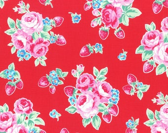 1/2 yard Lecien Japan Flower Sugar Berry Fall 2017 Collection |  Red Floral Strawberries # 31512L-30
