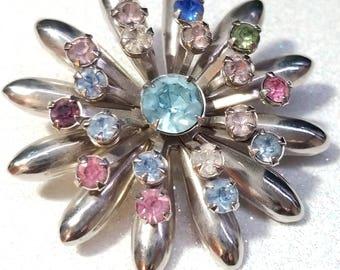 Vintage Multi Color Rhinestone Pin Brooch Silvertone