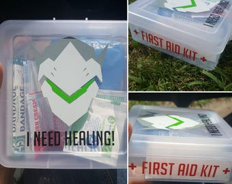 Genji/Mercy/Sombra I NEED HEALING First Aid Kit w/ Basic First Aid Supplies (Individual)