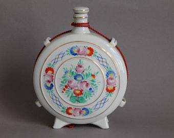 Hollohaza Floral Porcelain Bottle Decanter