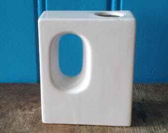 Vest Keramiek, Gouda, Netherlands: splendid modernist rectangular mid-century 'hole' vase in pure white white, seventies