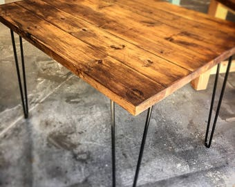 "Custom made entry way tables or desks. Many sizes available  price reflects a 42""x32""x30"" table with handmade hairpin legs"