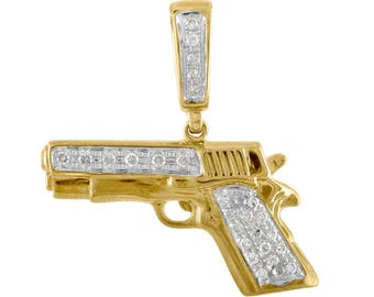 10K Gold and Diamond Pistol Pendant with 24 Inch Gold Chain