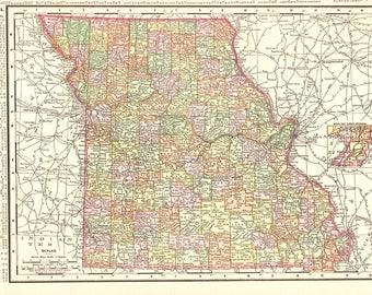 Vintage Missouri Map Etsy - Missouri us map