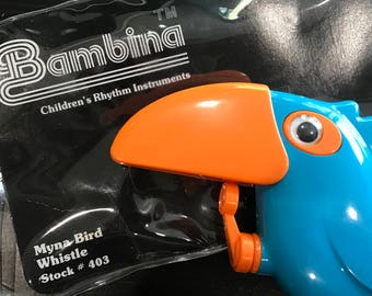 NOS Vintage Bambina Myna Bird Whistle #403 1983 Blue Toucan Children's Music Toy Slide Whistle Parrot