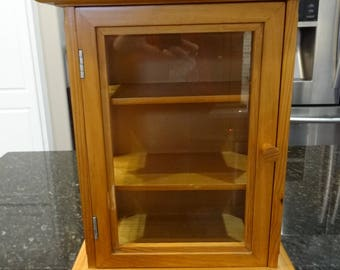 Vintage Wooden Display Cabinet with Glass Door and Side Panels, Light Wood Cabinet, Two Shelves are Nice for Displaying Collection