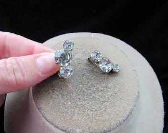 Vintage Pair Of Clear Rhinestone Clip Earrings