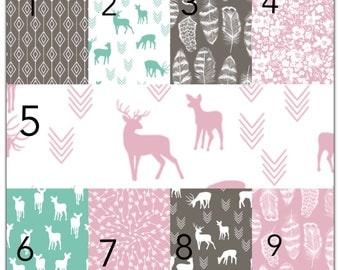 Custom crib bedding, deer crib bedding, crib bumpers, skirt, sheet, quilt, teething guard, change pad cover, curtains