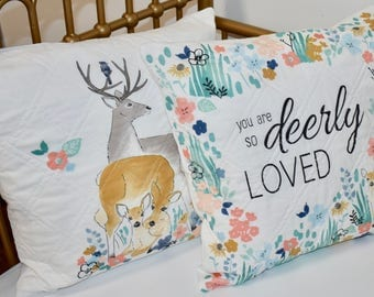 woodland throw pillows, deer, so deerly loved, wild one, woodland nursery, baby girl nursery, floral deer, floral antlers