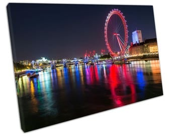 print on canvas Red London eye at night river Thames City of London skyline - X1067