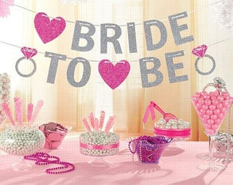 Bride to be Bunting - Hen Party Decorations - Bridal Shower Decor - Bachelorette Bunting - Silver and Pink - Engagement Party -  NK0196