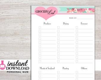 Planner Printable - Grocery List Inserts - Filofax Personal - Kikki K Medium - 3.75 x 6.75 in. - Design: Flirty Girl