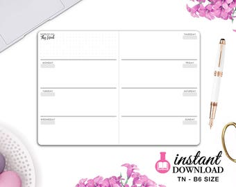 Printable TN Inserts - B6 Size / Foxy Fix #5 -  Weekly Planner - Week on 2 Pages - Horizontal - Travelers Notebook