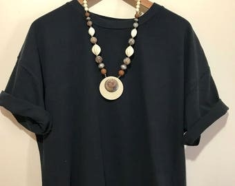 Bakelite and Metal Statement Necklace