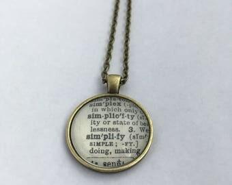 SIMPLICITY SIMPLIFY Vintage Dictionary Word Pendant